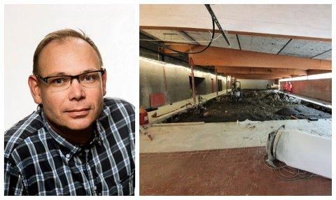 PROSJEKT: Opprustinga av Høyangerhallen er godt i gong. Når denne jobben er ferdig ventar endå fleire planar, fortel prosjektleiar Bjørn Berstad i Høyanger kommune.