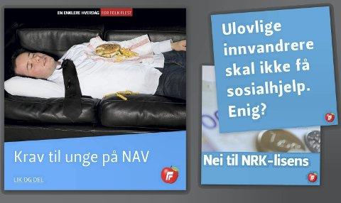 Eksempler på politiske Facebook-budskap fra Fremskrittspartiet.