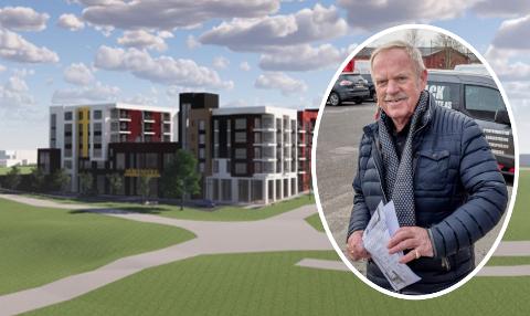 Den planlagte bebyggelsen på Sorgenfri sett fra Sorgenfridammen. Bebyggelsen vil bestå av to lamellblokker på mellom fire og fem etasjer med forbindelse mellom seg.