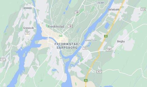 Dette skjermbildet er hentet fra Google Maps og viser hvordan karttjenesten nå definerer Sarpsborg og Fredrikstad som ett byområde.