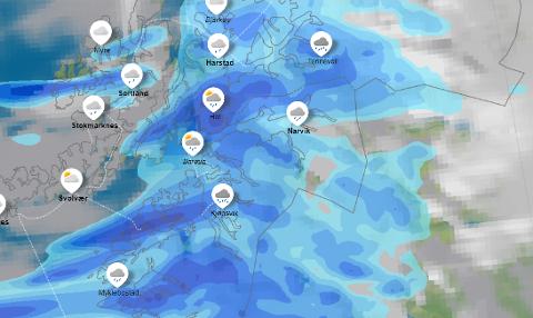 Meteorolog Per Egil Haga forteller at Ofoten og Sør-Troms har en våt uke i vente. Skjermdump: Yr.no