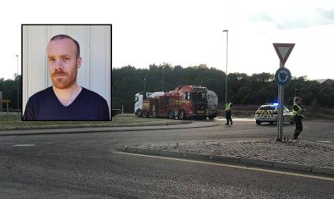 TOK FYR: Både bremser og dekk tok fyr på tankbilen Kristian kjørte.