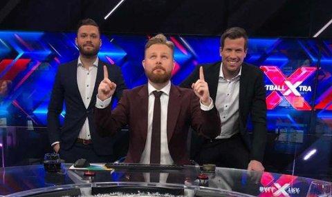 Rogvi Baldvinsson (t.v.) dannet trio med Marius Skjelbæk (midten) og Jesper Mathisen (t.h.) under tirsdagens FotballXtra.