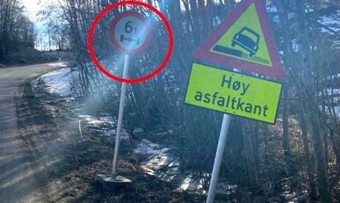 KJØRTE VIDERE MED DOBBEL LAST: Det ble dyrt for sjåføren som ignorerte dette skiltet på veien mellom Nordkisa og Fenstad.