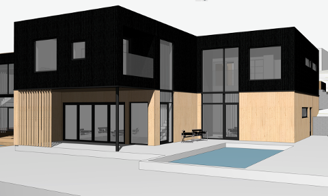 FASADEN: Huset får rette linjer, stor vindusflater og utendørs saltvannsbasseng.