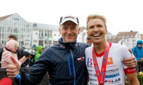 DOBBEL DOSE: Det blir dobbel dose Ironman i Haugesund i sommer. Her ser vi Ironman-general Ivar Jacobsen sammen med fjorårsvinner Allan Hovda.