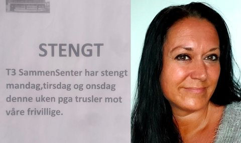 Daglig leder Hilde Louise Hansen forteller at frivillige ved Sammen Senteret T3 i Haugesund mottok trusler. Da måtte senteret stenge.