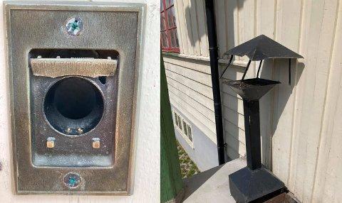 ØDELEGGELSER: Både nøkkelinnkastet, et askebeger, en dørstopper og en rute er ødelagt.