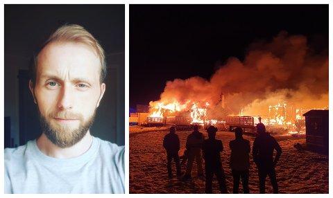 OVERTENT: Daniel Albrigtsen bor ikke langt unna rekkehuset som ble overtent lørdag kveld.
