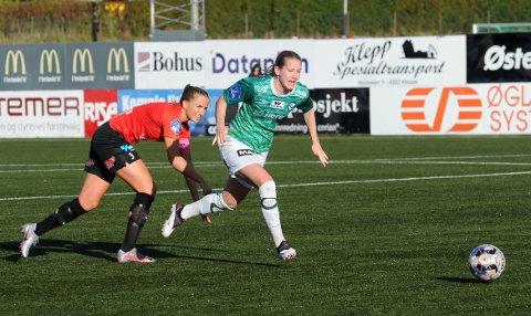 KLEPP: Elisabeth Terland kom ikke til mange sjansene i bortekampen mot Avaldsnes. Herfra forrige hjemmekamp mot nettopp Avaldsnes på Klepp stadion.