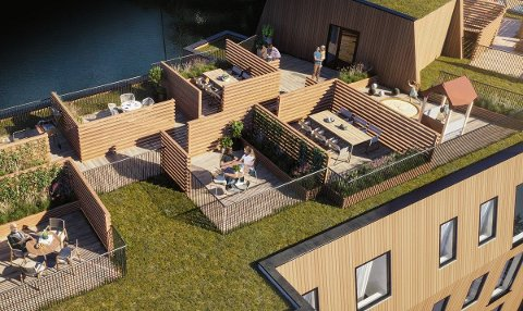 IKKJE LOV: «I tilknyning til boligene er taket innredet i egne private terrasser. Skap din helt egen hage, en sosial oase, grillområde eller urtehage. Kun fantasien setter grenser.» Men også ein nabo, og reguleringsplanen, set grenser.