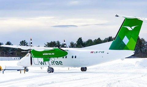 Nytt design: Widerøe har anskaffet et dash 8 fly til sin flåte av kortbanefly. Flyet kommer fra Canada på nyåret
