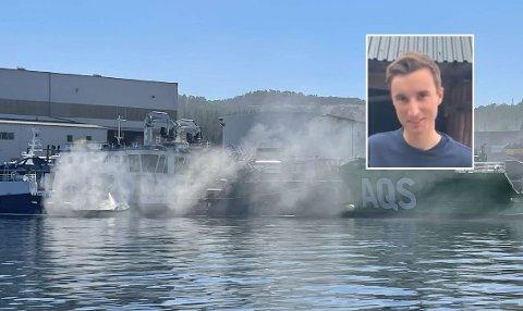 VIKTIG HJELP: Joachim Vollan (25) var en av dem som bisto med viktig hjelp under redningsaksjonen av en brennende båt på Kolvereid lørdag.