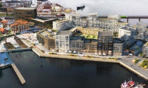 BARNEHAGE: Det blir grønn park og barnehage på taket av parkeringanlegget.