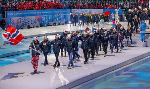Mårten Soleng Skinstad var en del av den norske troppen på åpningseremonien av Universiaden.