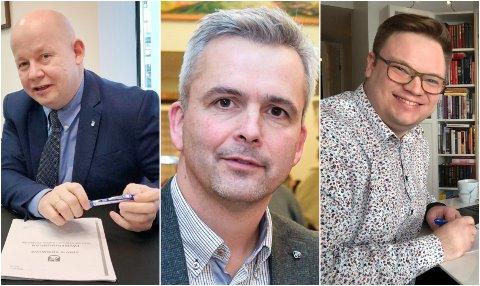 HAR IKKE FÅTT VAKSINE: Torvild Sveen, ordfører i Gjøvik, Bror Helgestad, ordfører i Østre Toten og Even Aleksander Hagen, fylkesordfører i Innlandet har ikke sneket i vaksinekøen.