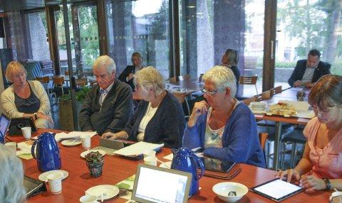 SPØR: Lola Stormorken (nr. 3 f.v.) og resten av Utvalg for helse og omsorg får svar fra kommunalsjef Else Karin Myhrene (t.v.) og Greverud sykehjems Vibeke Harr (bak t.v.).