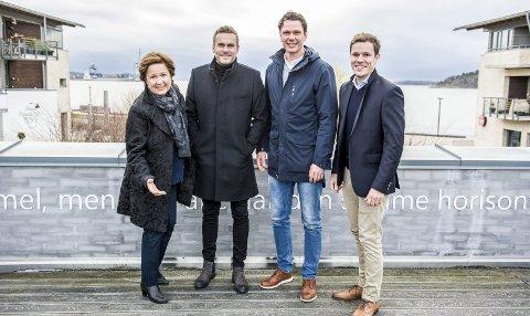 Gleder seg: – Vi gleder oss til å kunne introdusere Salgsakademiet, sier Hilde Glenne (fra. v.), Pål Albertsen, Stian Johansen og Magnus Mackay.