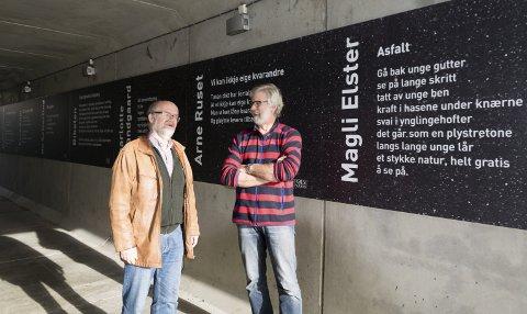 Ser fremover: Knut Hjalmar Gulliksen og Louis Jacoby er sentrale i utviklingen av Poesiparken. Nå vil de se framover og ønsker seg en fast bevilgning.foto: per Albrigtsen