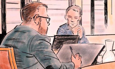 Forklaring: Ektemannen fortsatte sin forklaring i lagmannsretten tirsdag. Tegning: Nils Axle Kanten