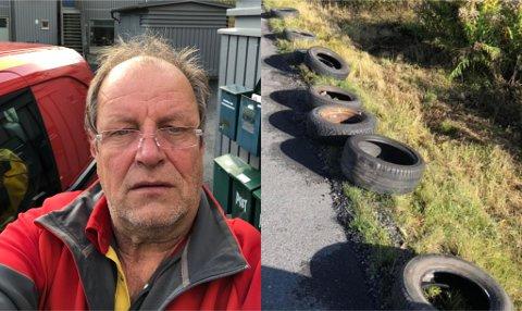 ULOVLIG: Det er ikke bare bildekk som ligger slengt langs Underlandsveien. Nå håper Jan Fossheim (61) at det vil bli satt inn tiltak for å få en stopp på forsøplingen.