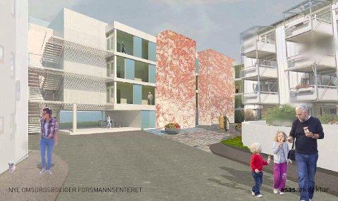 FORSMANN 3: Glimt fra hvordan det vil bli seende ut mellom blokkene. (Illustrasjon: ASAS Arkitektur)
