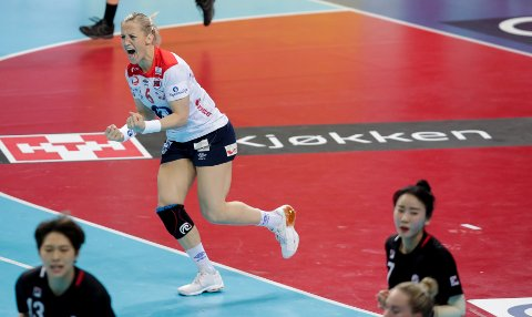Kumamoto, Japan  20191209.  Heidi Løke jubler under VM kampen mellom Sør-Korea og Norge. Foto: Vidar Ruud / NTB