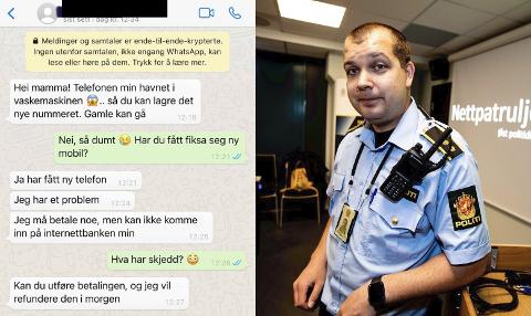 Jostein Dammyr fra Øst politidistrikt advarer nå mot en utspekulert lokal svindelmetode. Her ser du en melding fra en som utgir seg for å være barnet til en person.