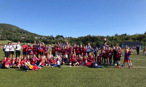Hele gjengen: 62 barn og 12 instruktører deltok lørdag og søndag på Tine fotballskole i Viosen. De var en meget aktiv gjeng som spilte fotball i solsteiken beggen dagene.