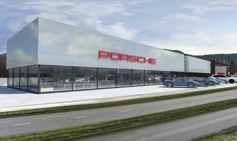 SIGNALBYGG: Porsche-anlegget på Vallermyrene vil bli svært synlig fra veien.