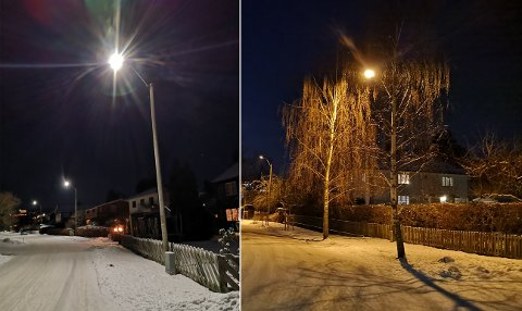 FORSKJELL: Begge bildene er tatt i Markveien. Det til høyre viser slik det så ut med de gamle glødepærene. På bildet til venstre er det ledlys som lyser opp.