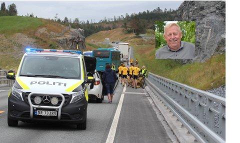 Professor emeritus, Kjell Aage Gotvassli (innfelt) går hardt ut mot fylkeskommunens sikring av Beistadsundbrua. – Det er forunderlig at man bygger en ny flott bro, også klarer man ikke å gjøre den trafikksikker for alle trafikanter.