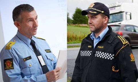 VIL HA JOBBEN: Politimester Nils Kristian Moe (t.v.) ønsker å fortsette i jobben som politimester. Distriktsleder Anders Sjøtrø i UP er en av to utfordrere til stillingen som skal ansettes fra 1. januar 2022.