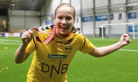 Seriemester 2017: Guro Reiten jubler for seriegull etter kampen mellom LSK Kvinner og Stabæk i fjor høst. Foto: Fredrik Hagen / NTB scanpix