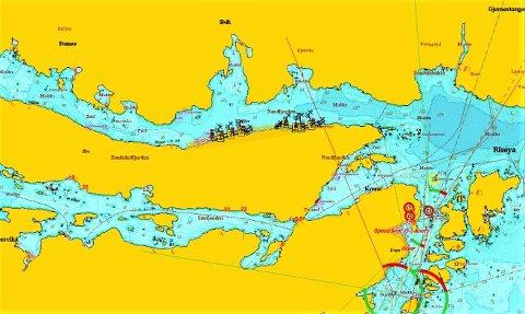 Av dette kartutsnittet fremgår det hvor Engesund Fiskeoppdrett ønsker å plassere sine to anlegg for tareoppdrett. Området er fra tidligere regulert til akvakulturformål.