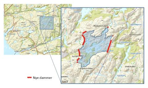 HOLMEVATN: Oversiktskart over alternativet  som kalles deponi Holmevatn like øst for dagens uttak for Titania. (røde streker markerer nye demningsbyggverk)