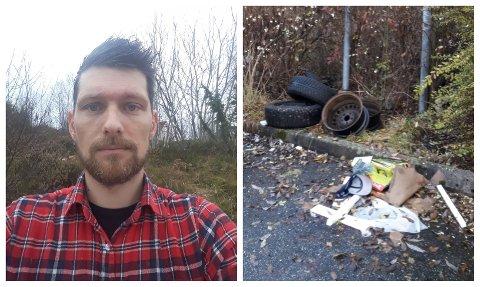 Bildet viser berre noko av forsøplinga. – Etter at eg tok bildet såg eg fleire plastposar som låg i buskane, seier Jan-Fredrik Skjelvik Larsen.