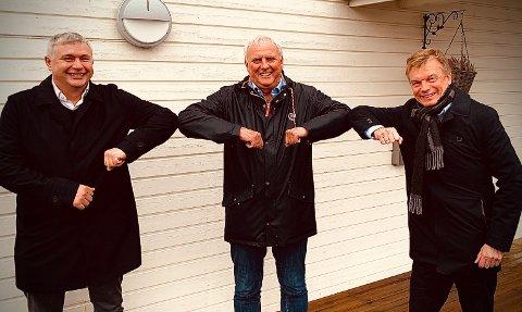 NYTT TILSKUDD: Fv: Dragefossen (med Truls Paulsen), Bodø Energi (med Arne Juell) og Troms Kraft (med Semming Semmingsen). Fra tirsdag av er samtlige aksjonærer i Brus.