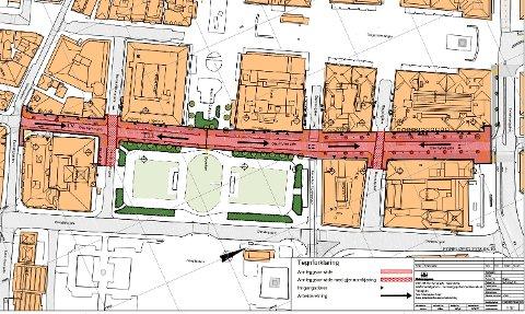 Det røde feltet viser hvor gaten blir stengt. Det skraverte området viser stengt vei med mulighet for gjennomkjøring.