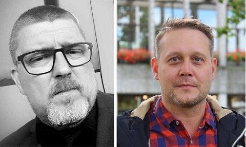 Leif Gunnar Larsen (t.v.) og Øyvind Hvidsten får svar fra Odd Røren.