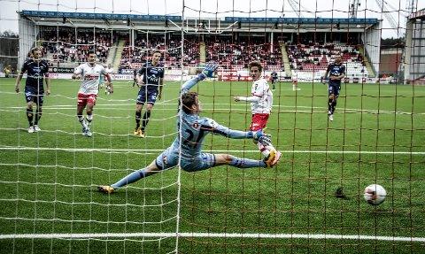 SCORET, MEN TAPTE: Ludvig Begby scoret et fint mål i seriepremieren mot Levanger i 2016, men selv om FFK ledet 2-1, ble det 2-3-tap. FFK har aldri slått trønderne.