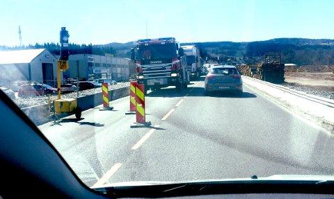 Når du reiser hjem fra jobb må du forberede deg på at det kan ta litt lengere tid på grunn av lysreguleringen ved Norsenga.