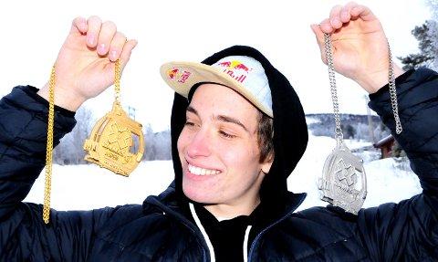 MULIGHETER: Marcus Kleveland, her med to av sine totalt fem X Games-medaljer, er nominert i to kategorier foran lørdagens Snowboardawards i Oslo. Foto: Vidar Heitkøtter