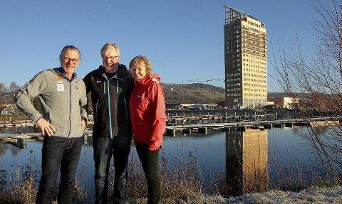 NYTT KONSEPT: Dag Kåshagen, Finn Olsen og Jannike Berg har store forhåpninger til Tour of Mjøsa. Arrangementet starter med trappeløp som prolog i trehotellet i Brumunddal. Touren avsluttes på Lillehammer, med Mesnaelva opp. Alle foto: Jørgen Skaug
