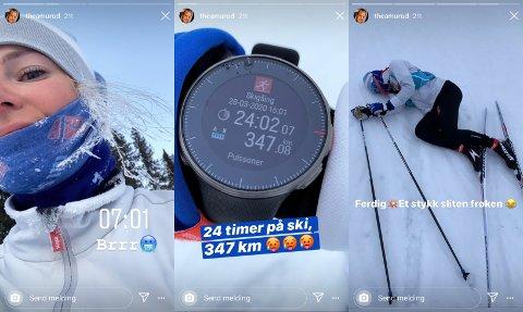 Slik har Thea Krokan Murud selv dokumentert den lange skituren, som endte på hele 347 kilometer.