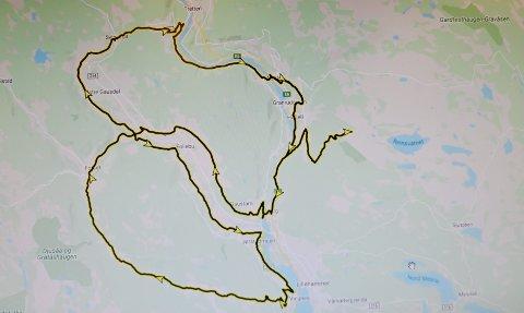 Kart over hvilke veger i Øyer, Gausdal og Lillehammer der det blir delvis kjøreforbud lørdag 2. oktober.