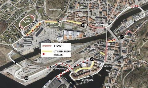 KART: Slik blir sentrum stengt og delvis stengt under byløpet på lørdag.
