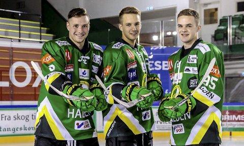 FROM LITAUEN WITH GOALS?: Paulius Gintautas (tv), Jaunius Jasinevicius og Ugnius Cizas er alle landslagsspillere for Litauen. Denne sesongen spiller alle tre for Comet.