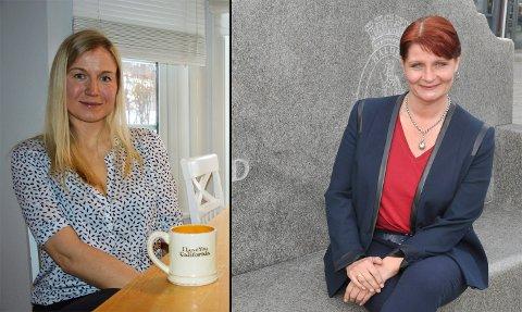 MOTKANDIDATER: Linn Laupsa (t.v.) og Kristi Brække Myrli sitter begge i Halden Arbeiderpartis styre. I tillegg er Laupsa leder av Halden partilag, og det er dette styret som har vedtatt å foreslå sin leder som Arbeiderpartiets ordførerkandidat. – Det er gledelig med engasjement og flere kandidater, sier Myrli. Det er Aps nominasjonskomité som har Myrli på topp.