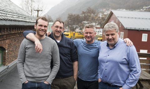 Har etablert seg i Odda: Kim Kristensen, Bård Hogne Kjosås, Lars Endre Tholo og Franz Johansen. Foto: Eli Lund